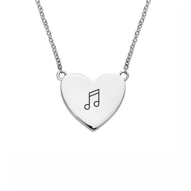 heart necklace engraved with musical note