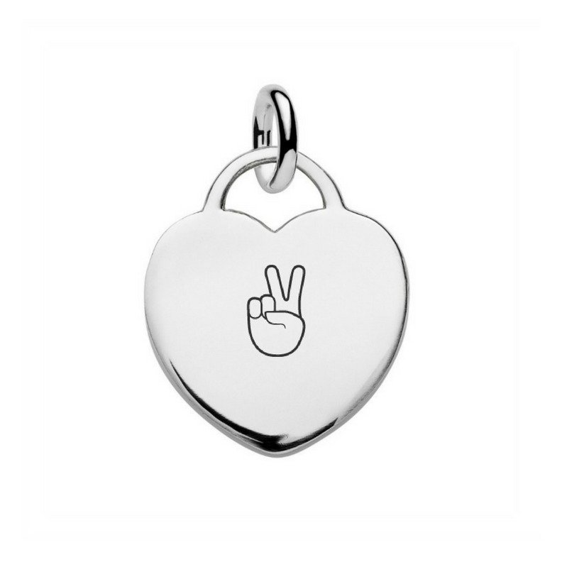 silver heart tag pendant engraved with peace emoji