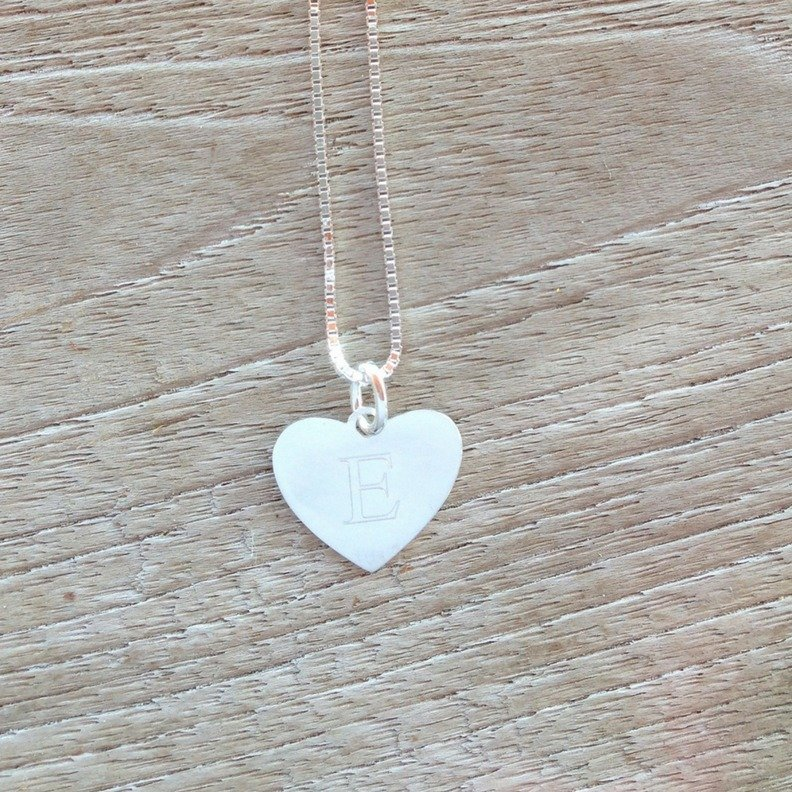intial E engraved on silver heart necklace