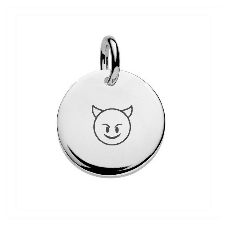 silver disc pendant engraved with smiling devil emoji
