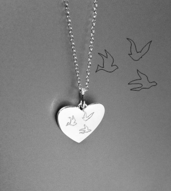 silver engraved heart pendant