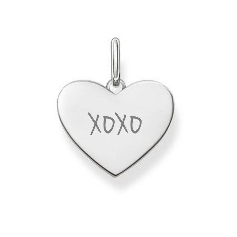 xoxo engraved on silver necklace pendant