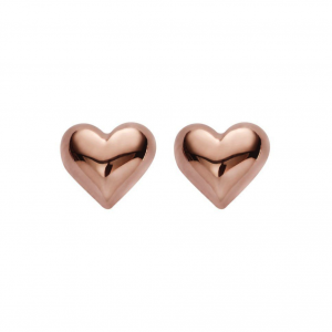 rose gold puffy heart stud earrings