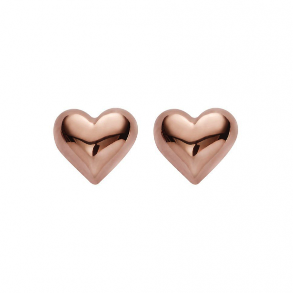 rose gold puffy heart stud earrings