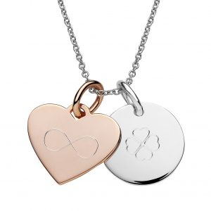 engraved silver disc pendant and rose gold heart pendant on the cable chain necklace