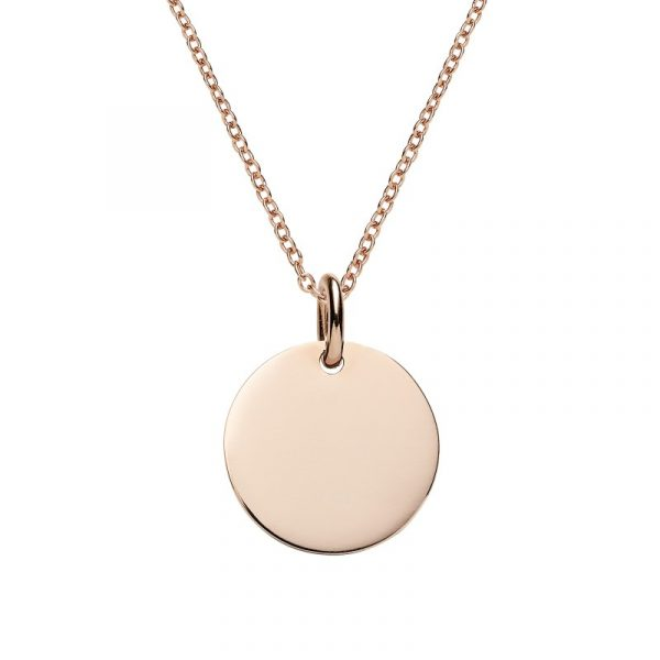 personalise this engraved rose gold disc pendant