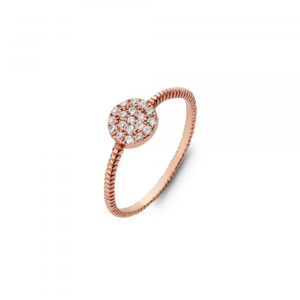 stackable sterling silver ring plated with rose gold, cubic zirconia cluster disc ring.