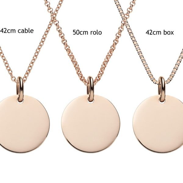 Engraved rose gold disc pendant personalised jewellery the engraved rose gold disc pendant aloadofball Images