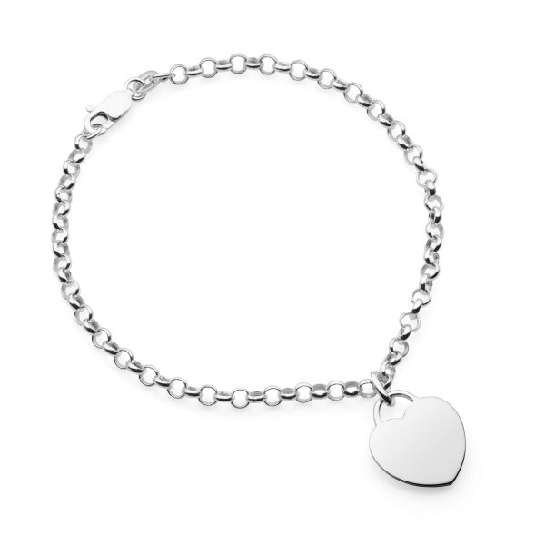 personalised rolo bracelet with heart tag pendant