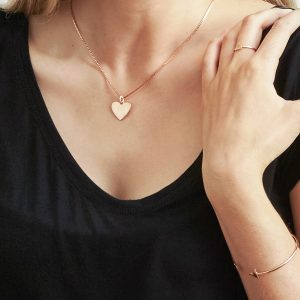 engravable rose gold heart pendant worn with box chain