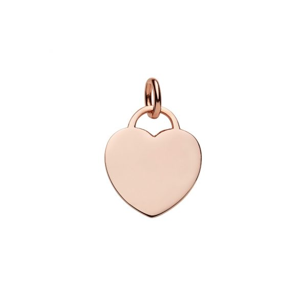 rose gold heart tag pendant
