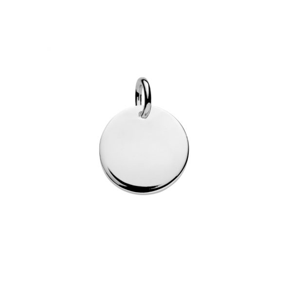 sterling silver 15mm disc pendant