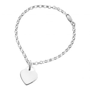 bracelet shown with engravable heart tag pendant