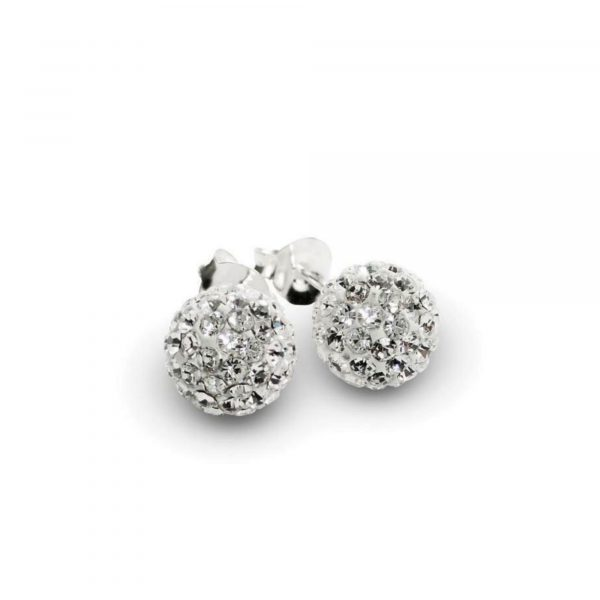 disco ball stud earrings - sterling silver and swarovski chrystal