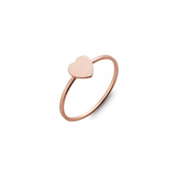 sterling silver heart ring plated with rose gold