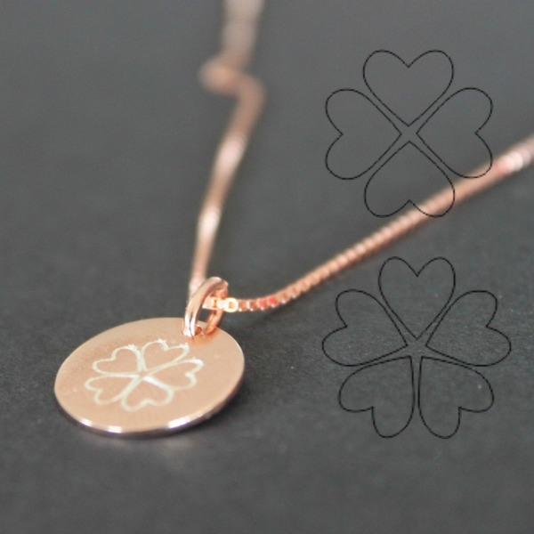 clover engraved on necklace