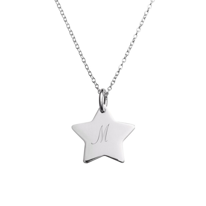 Engraved initial necklaces letter necklace pendants the silver personalised initial star necklace aloadofball Images