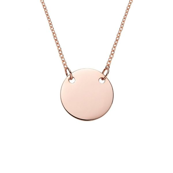 engraved rose gold suspended disc necklace