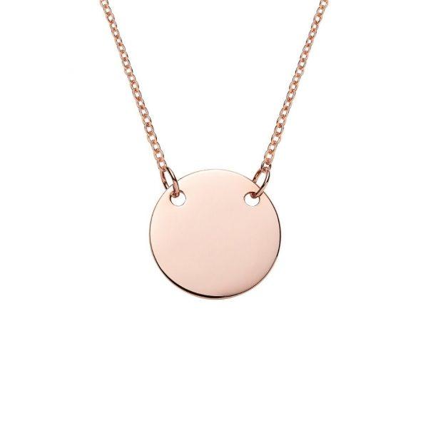 engraved rose gold suspended disc necklace