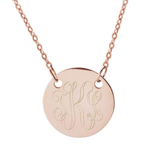 Engraved rose gold suspended disc necklace personalised jewellery rose gold suspended disc necklace aloadofball Images