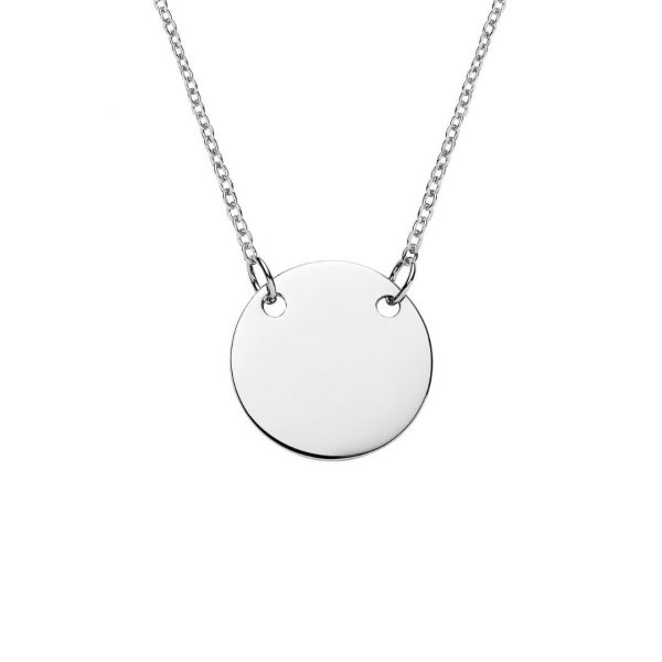 sterling silver engraved suspended disc necklace