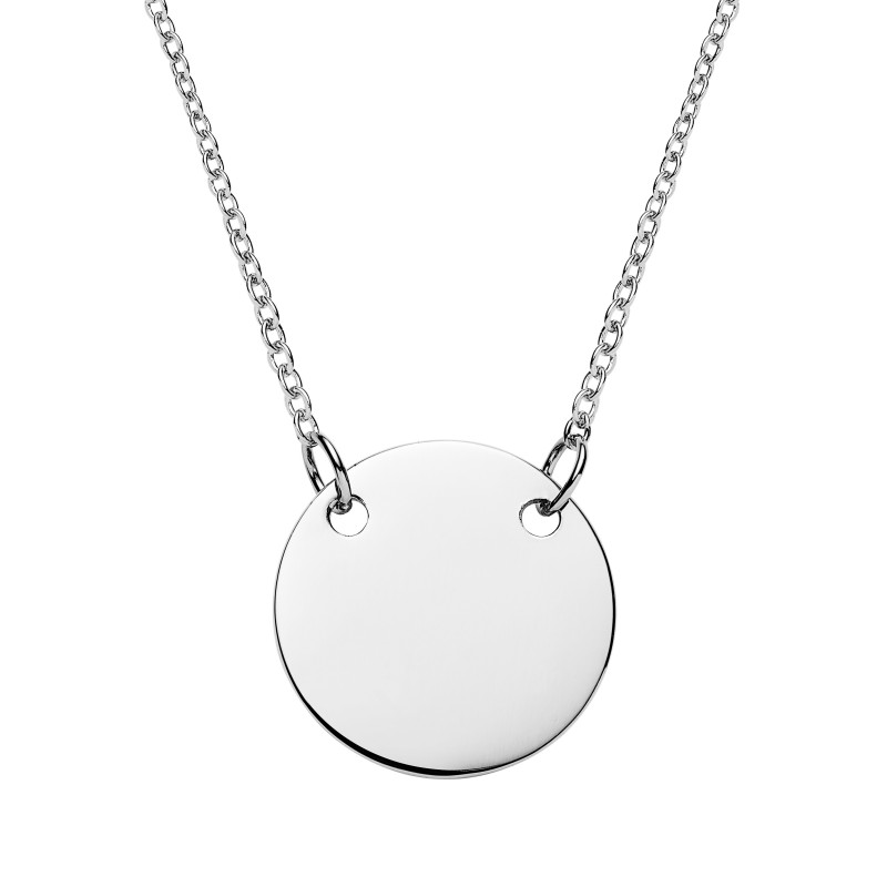 Disk Silvers: Silver Suspended Disc Necklace