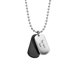 Mens black & steel double dog tag necklace