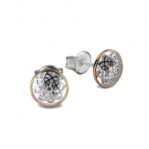 Radiant silver stud earrings with rose gold egde