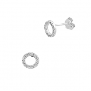 open circle cubic zirconia earrings