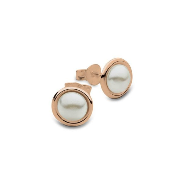 Rose gold half round pearl earrings