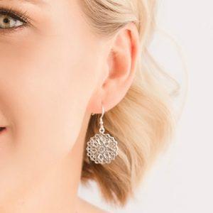 sterling silver filigree earrings mandala style