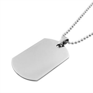 engravable mens stainless steel dog tag necklace with ball chain