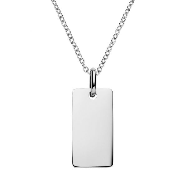 engravable silver bar necklace
