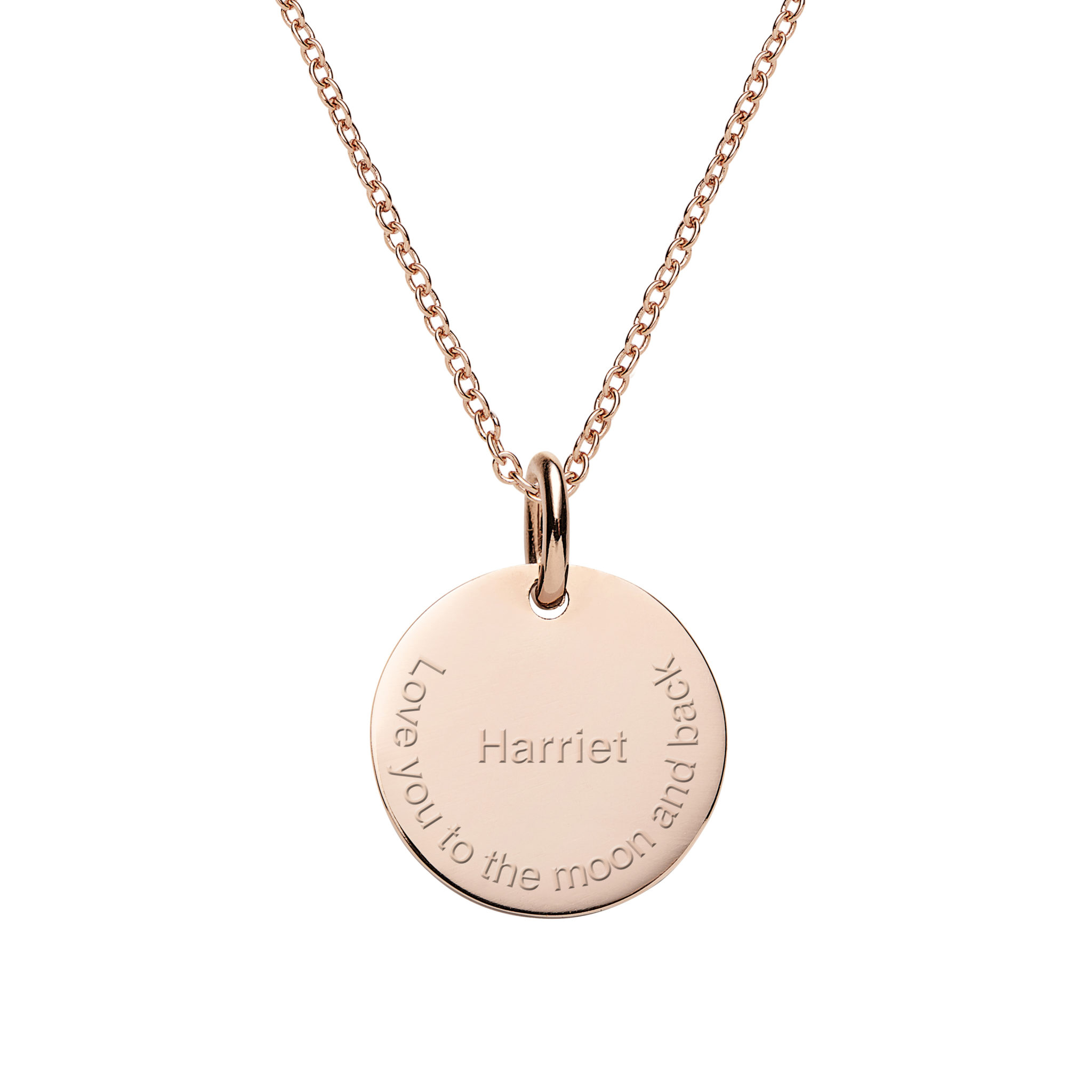 Engraved Rose Gold Disc Necklace Personalised Jewellery The Silver Store