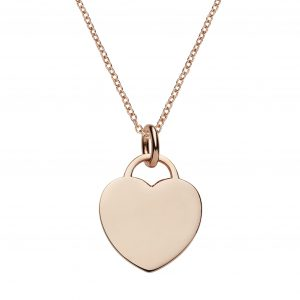 Personalised rose gold heart tag necklace