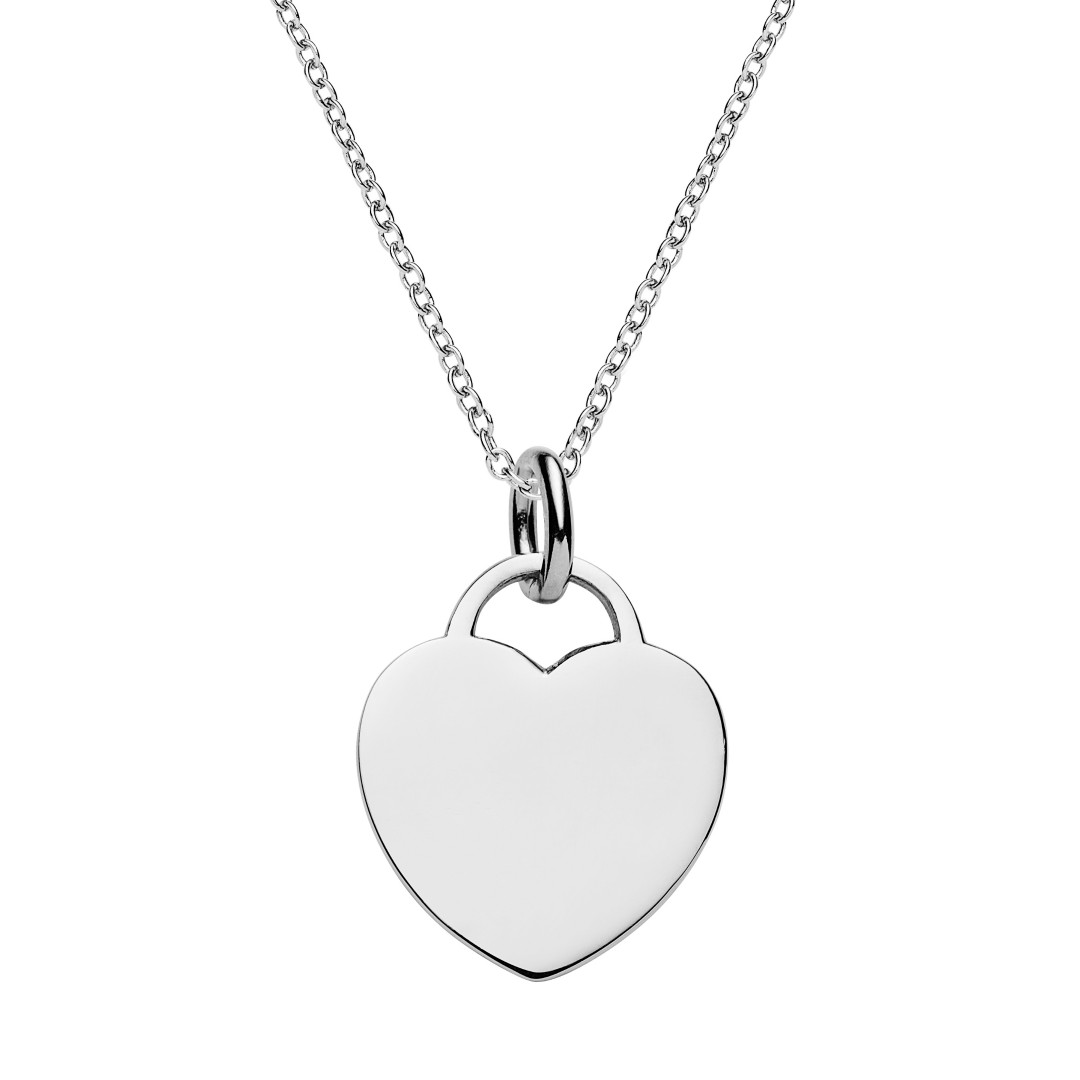 sterling silver heart tag necklace