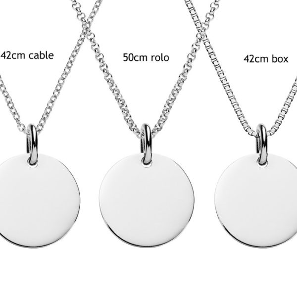 Engraved silver disc necklace personalised jewellery the silver silver disc necklace aloadofball Gallery