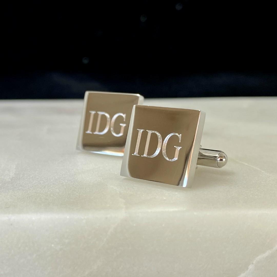 Letter E Etched Monogram Cufflinks