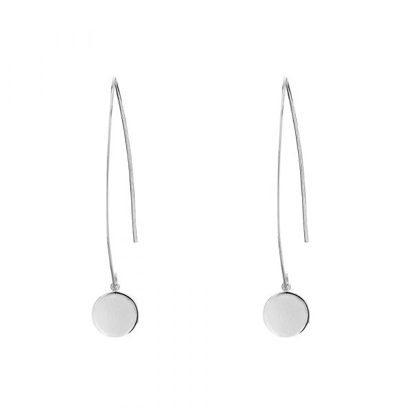 open hoop earring with disc feature