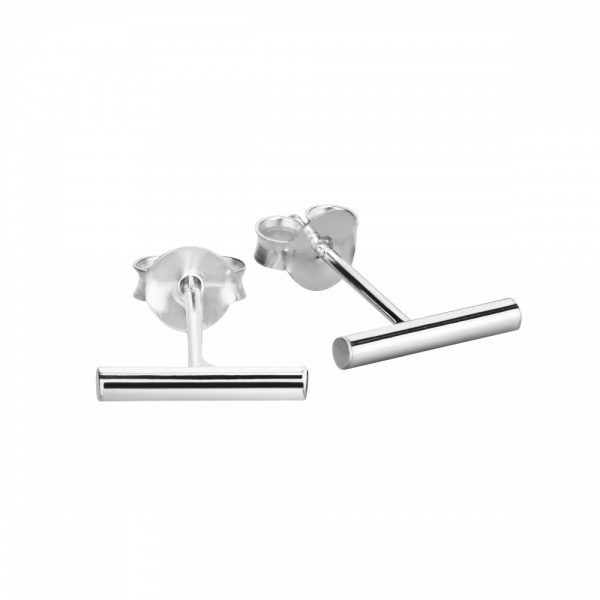 Sterling silver cylinder stud earrings - 10mm
