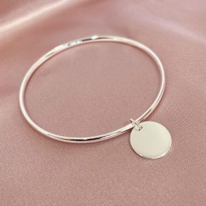 sterling silver engraved disc bangle