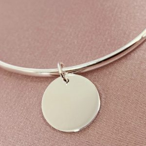 sterling silver bangle with 15mm engraved disc
