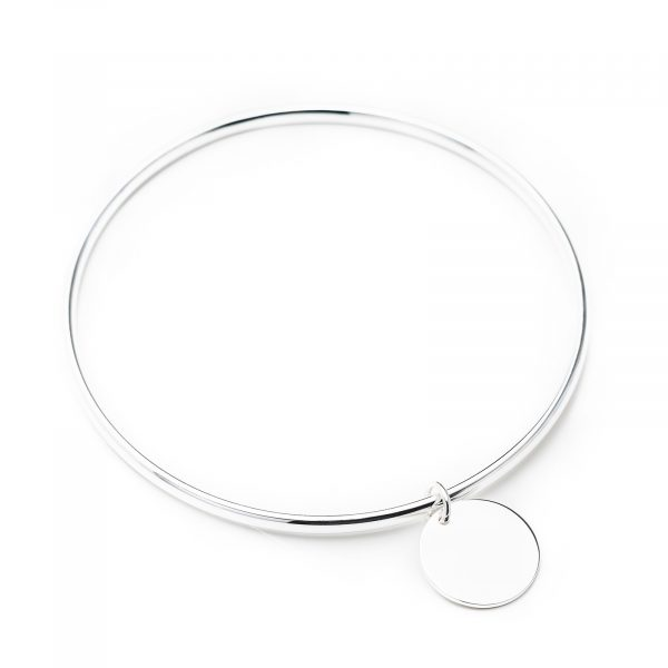 sterling silver bangle with engraved disc pendant