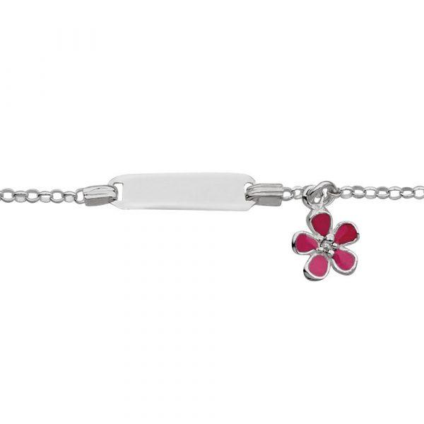 girls sterling silver id name bracelet