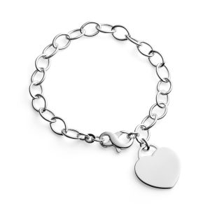 Silver Cable Bracelet & Engraved Heart