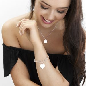 disc necklace and cable bracelet