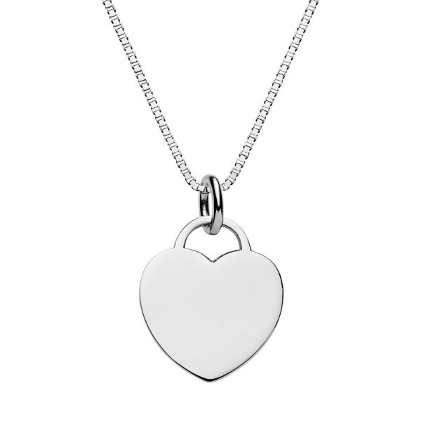 Engraved heart tag necklace with box chain