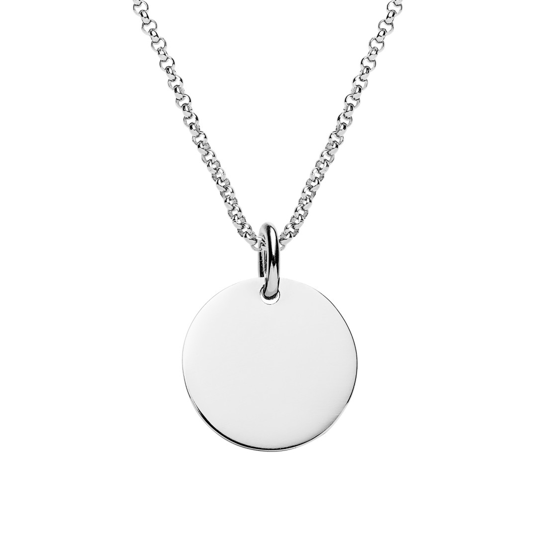 engraved silver disc pendant on rolo chain