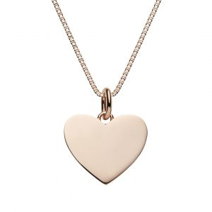 Personalised heart necklace with box chain