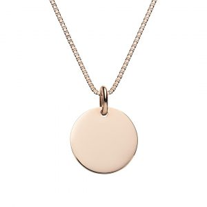 engraved rose gold disc necklace